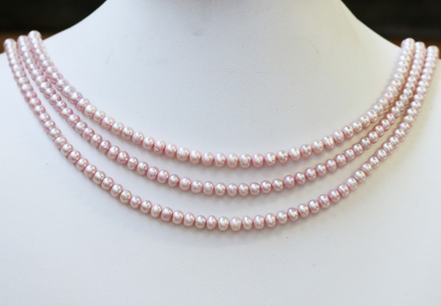 218.50 cts Three Pink Semi Round Pearl strands  GOGO1103
