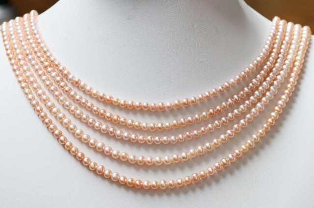 263.25 cts Five  Pink  Semi Round Pearl strands  GOGO 1120