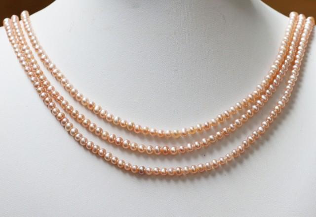 151.80 cts Three  Pink  Semi Round Pearl strands  GOGO 1121