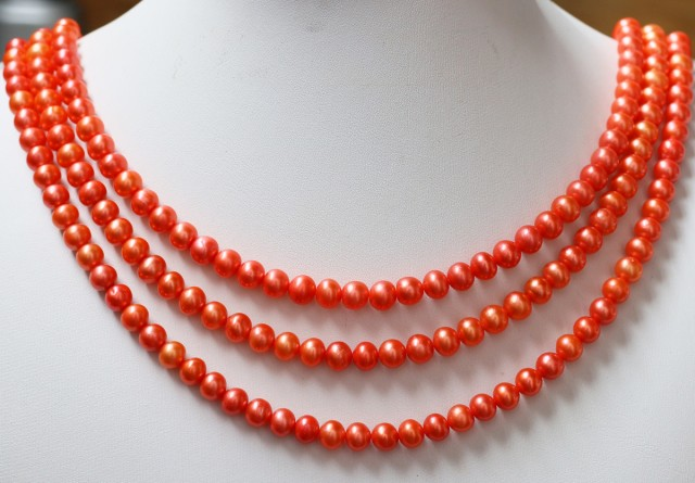 422.90 cts Three Orange Semi Round Pearl strands  GOGO 1134