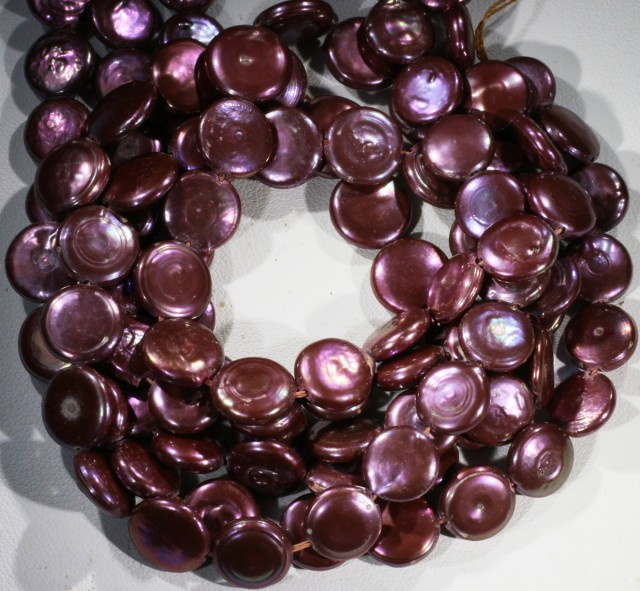 336.45 cts Three Pink Haove Coin Pearl strands  GOGO 1147