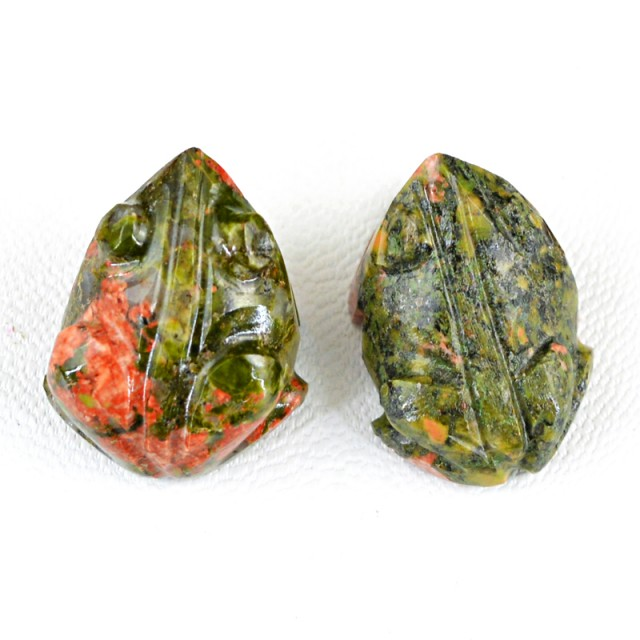 Genuine 58.50 Cts Hand Carved Jasper Frog Pair