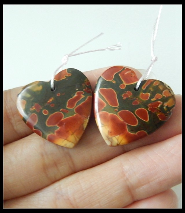40Ct Natural Multi Color Picasso Jasper Earring Beads Wholesale B123