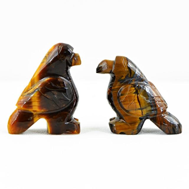 Genuine 66.50 Cts Carved Golden Tiger Eye Bird Pair