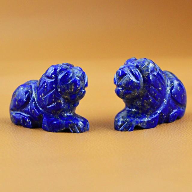 Genuine 83.00 Cts Blue Lapis Lazuli Carved Lion Pair