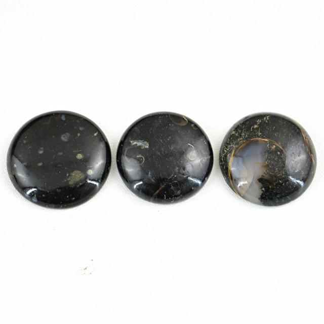 Genuine 180.00 Cts Round Shaped Black Galaxy Jasper Cab Lot