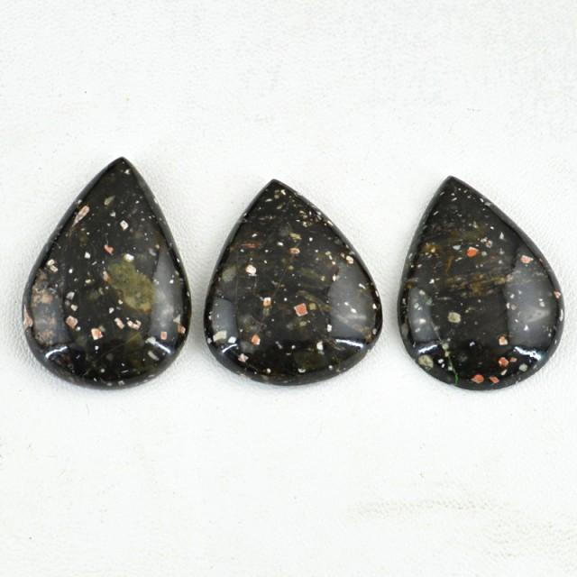Genuine 148.00 Cts Pear Shaped Black Galaxy Jasper Cab Lot