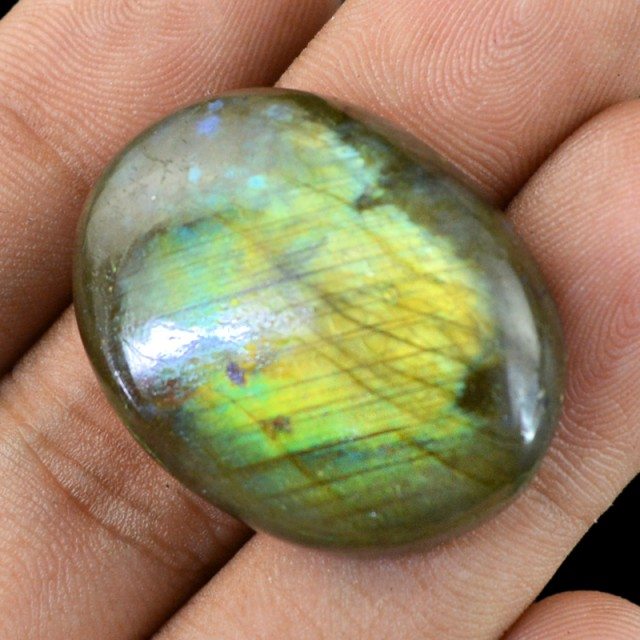Genuine 66.00 Cts Oval Shaped Labradorite Cab