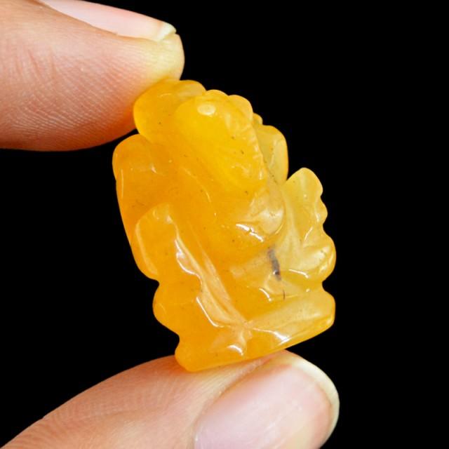 Genuine 31.50 Cts Orange Aventurine Carved Ganesha