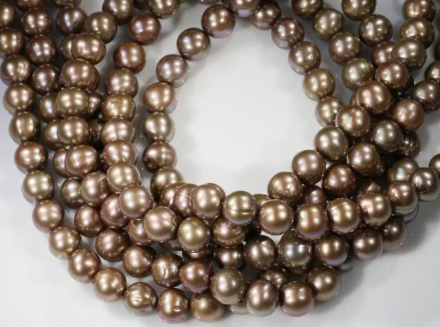 408.85 cts Three Chocolate Semi Round Pearl strands  GOGO 1179