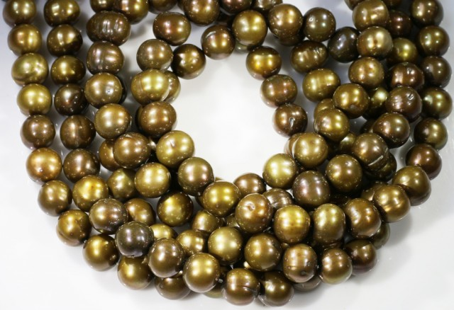 550.25 cts Three Chocolate Semi Round Pearl strands  GOGO 1182