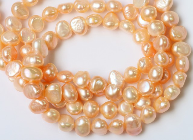 326.40 cts Two Apricot Baroque Natural color  Pearl strands  GOGO 1235
