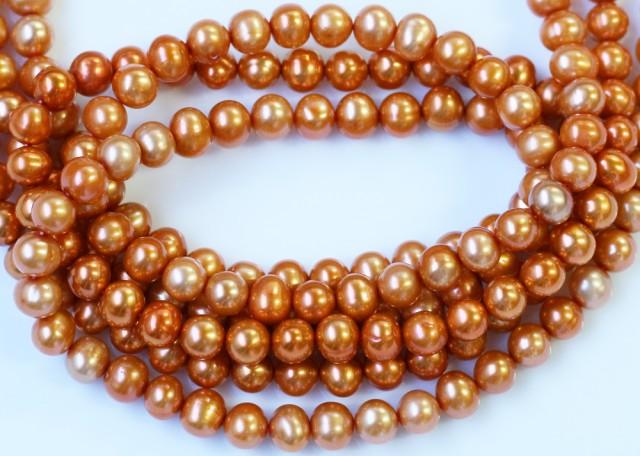 278.65 cts Three Golden Semi Round Pearl strands GOGO 1213