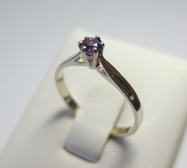 AmethystGenuine Natural Sliver 4mm Dress 925 Silver Ring