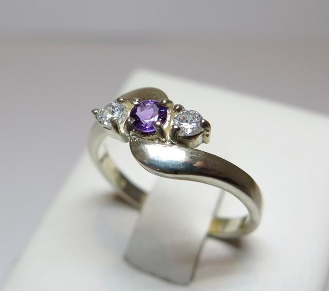 Amethyst Genuine Natural Sliver 3.5mm & CZ Dress 925 Silver Ring