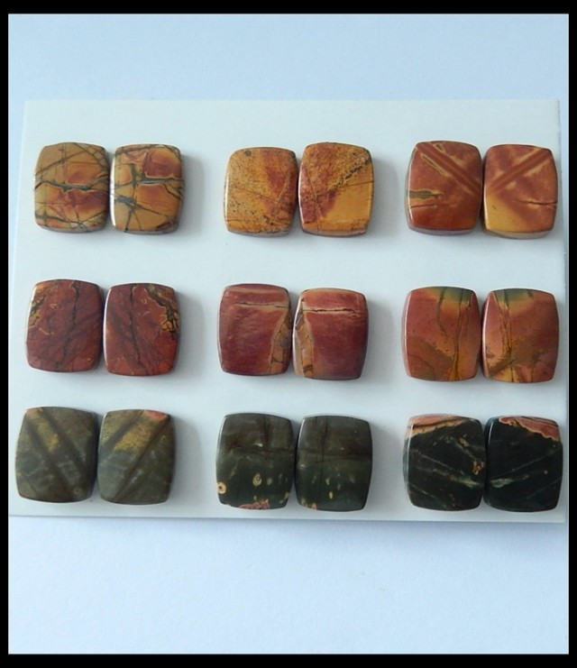 9 PAir Natural Multi Color Picasso Jasper Cabochon Pairs,159 CT