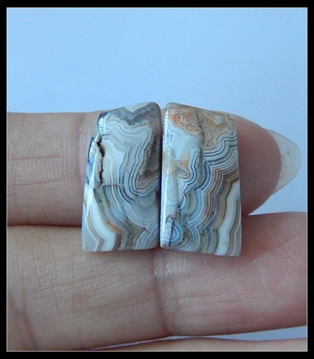 8Ct Natural Crazy Lace Agate Cabochon Pair (C0010)