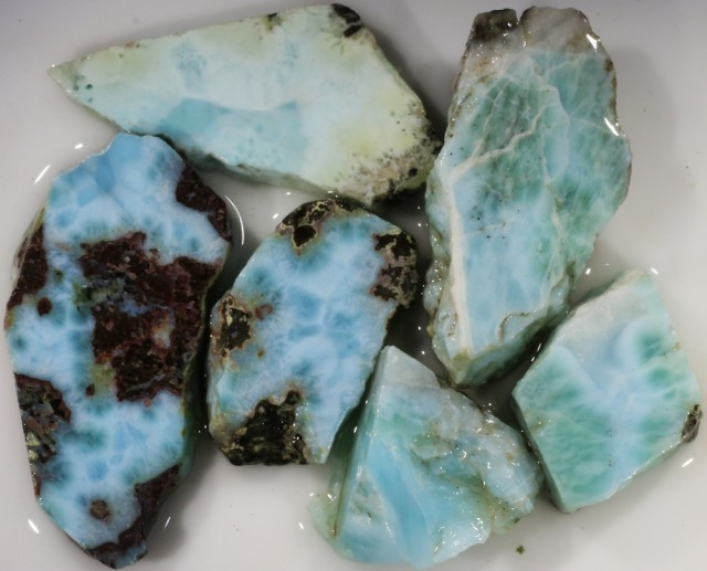244.00 Cts  6 Pieses Dominican Larimar Rough  PPP 770