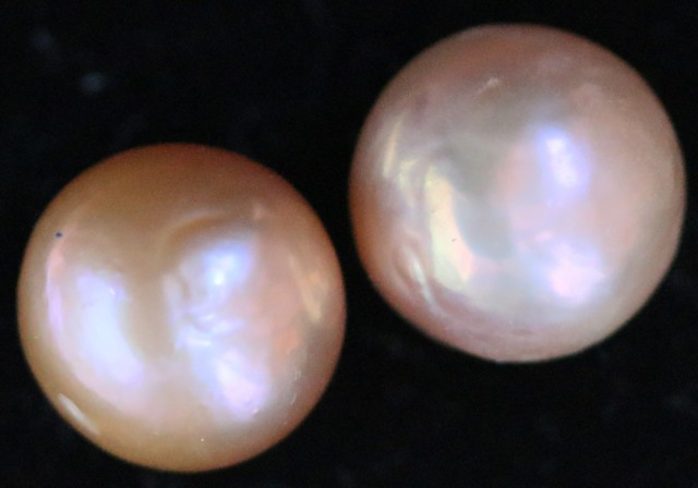19.90 cts Pair   Ivory/Apricot Pearls  PPP 670