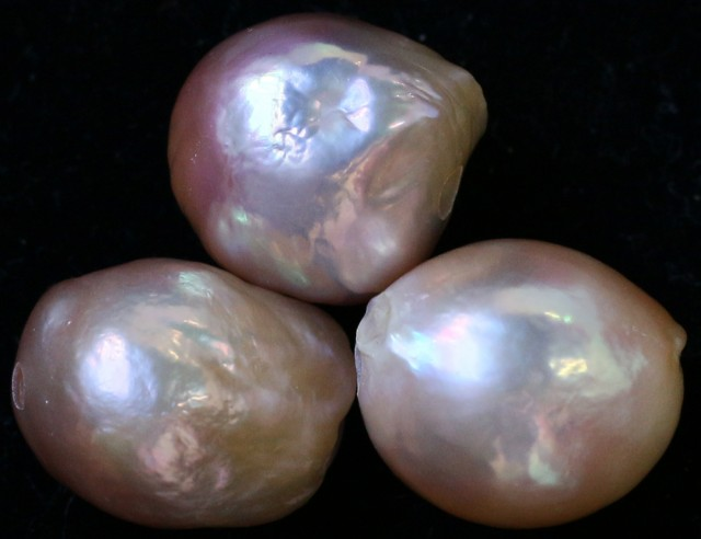 47.70 cts Three  Ivory/Apricot Pearls  PPP 672