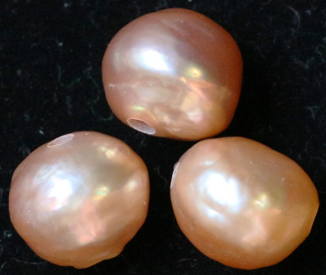 24.35 cts Three  Ivory/Apricot Pearls  PPP 677