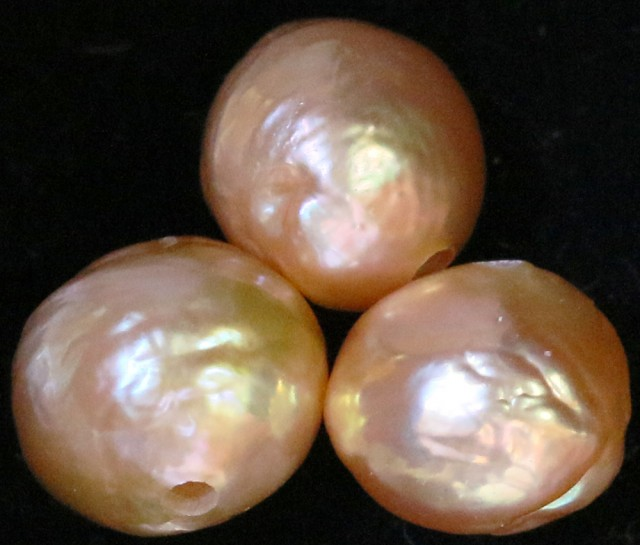 26.35 cts Three  Ivory/Apricot Pearls  PPP 680