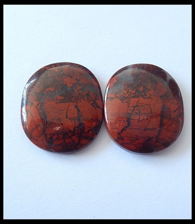 38.5Ct Natural African Red Jasper Gemstone Cabochon Pair(C0080)