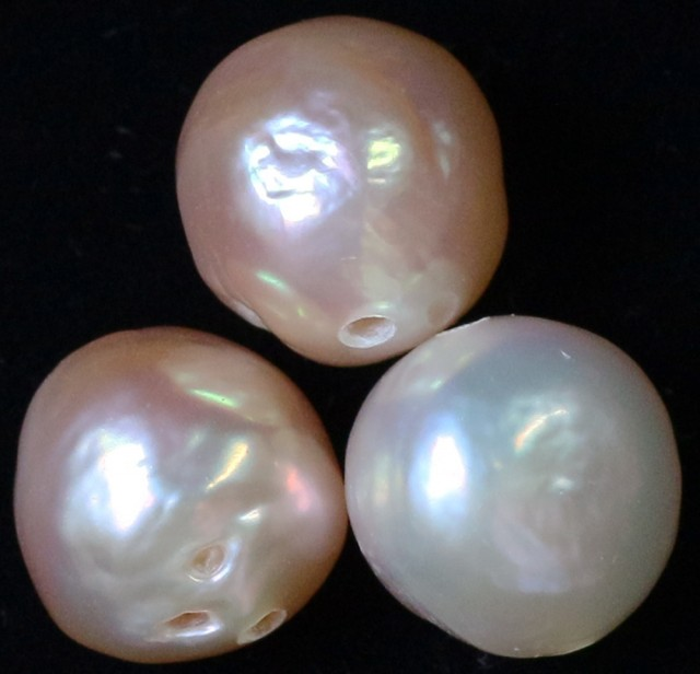 23.05 cts   3 natural  Apricot Pearls  PPP 792