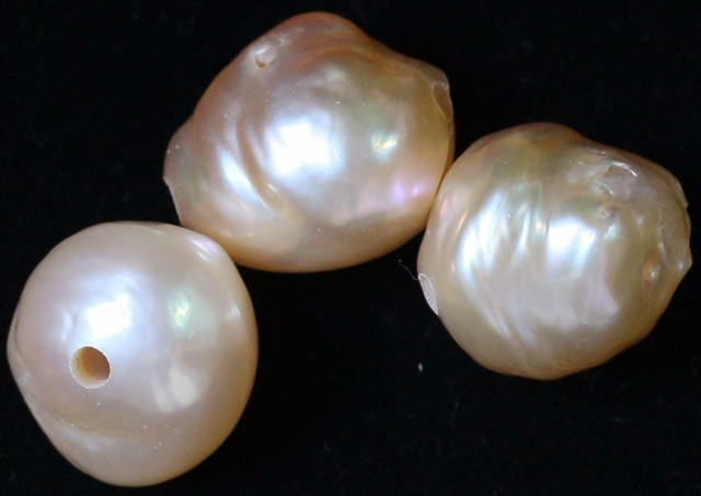 37.20 cts   3 natural  Apricot Pearls  PPP 797