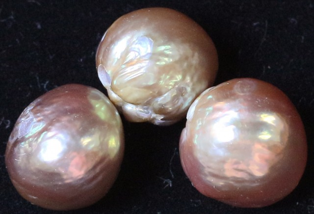 24.40 cts   3 natural  Apricot Pearls  PPP 816