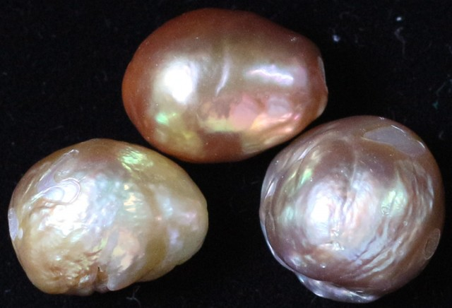 27.40 cts   3 natural  Apricot Pearls  PPP 819