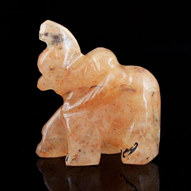Genuine 64.85 Cts Hand Carved Orange Aventurine Elephant