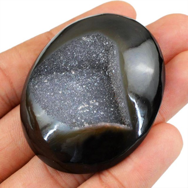 Genuine 208.50 Cts Black Druzy Huge Oval Shape Cab