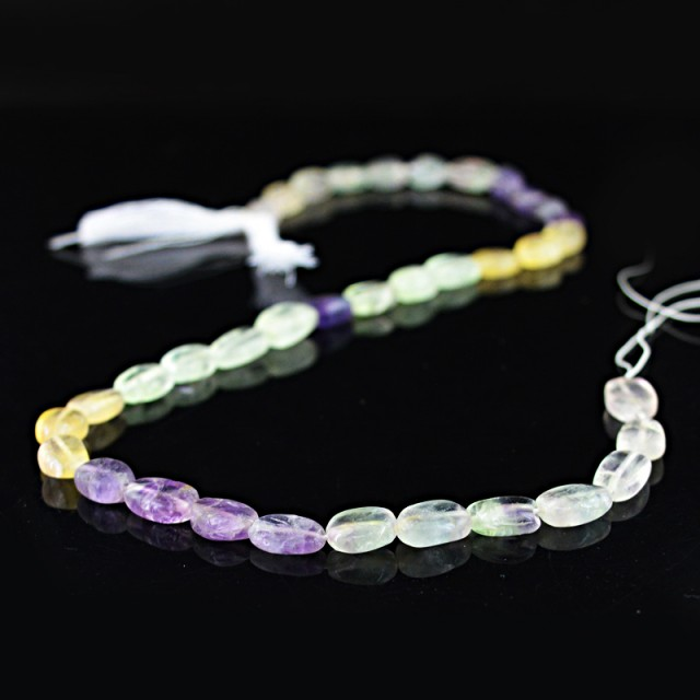 Genuine 130.65 Cts Multi Color Fluorite 14 Inches Beads Strand