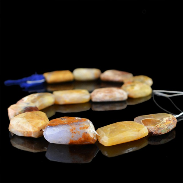 Genuine 592.05 Cts Agate 13 Inches Faceted Beads Strand