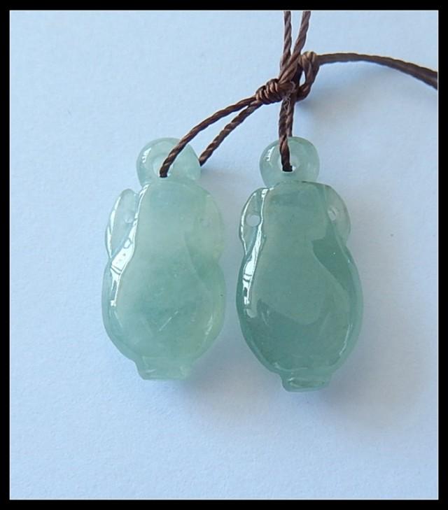 19Ct Natural Jade Vase Carved Earring Beads Pair