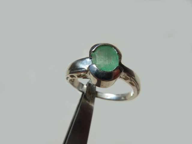 1.5 ct. Colombian Emerald Silver Ring