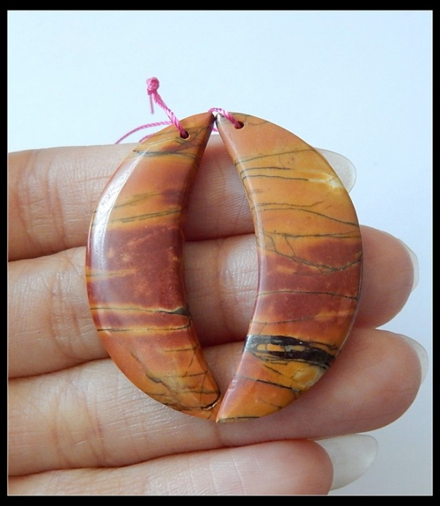 43.5Ct Natural Multi Color Picasso Jasper Earring Beads(B180404)