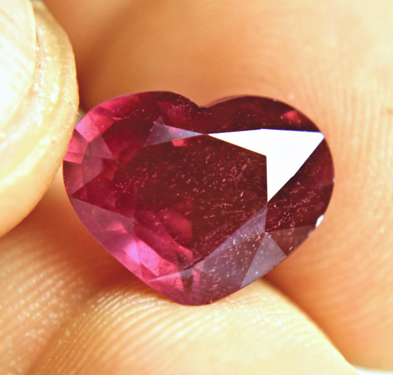 8.14 Carat Purplish Red Ruby Heart - Gorgeous