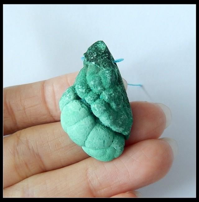 63.5Ct Nugget Malachite Gemstone Pendant Bead,34x20x11 MM