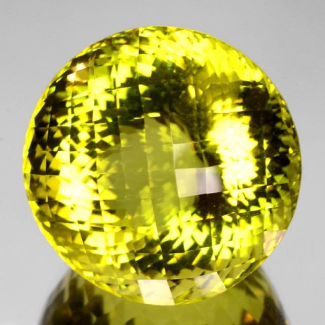 Nice Round 92.96 Cts Natural Honey Yellow Quartz Brazil Gem