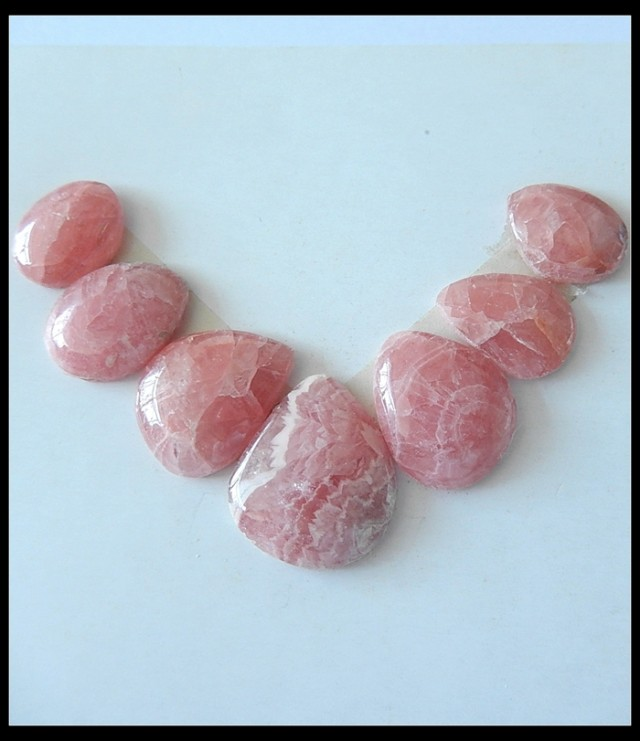7PCS Natural Rhodochrosite Gemstone Cabochons Set For Jewelry Making,51 Ct