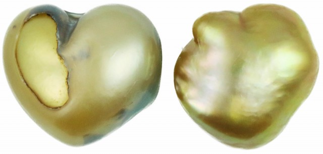 8.6 Cts Golden Freeform Shape Natural Pair Pearls  PPP927