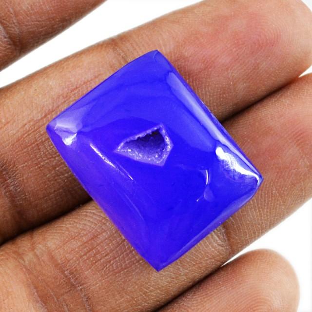 Genuine 26.00 Cts Purple Druzy Cab