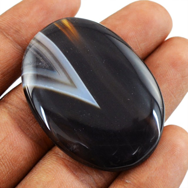 Genuine 61.50 Cts Oval Shape Onyx Cab