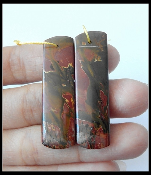 39Ct Natural Multi Color Picasso Jasper Earring Beads