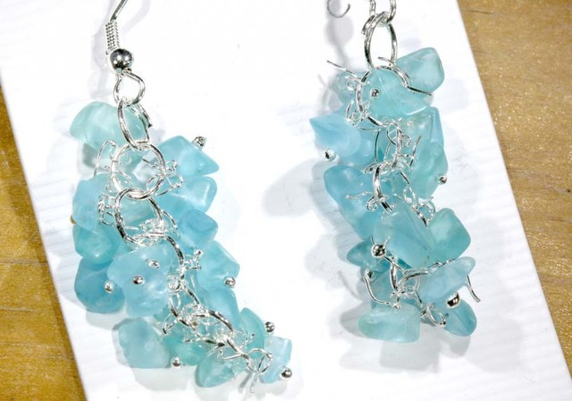 49.95CTS APATITE EARRINGS NEON BLUE UNTREATED SG-2257