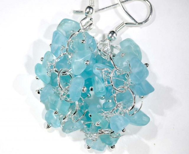 49.95CTS APATITE EARRINGS NEON  BLUE UNTREATED SG-2281