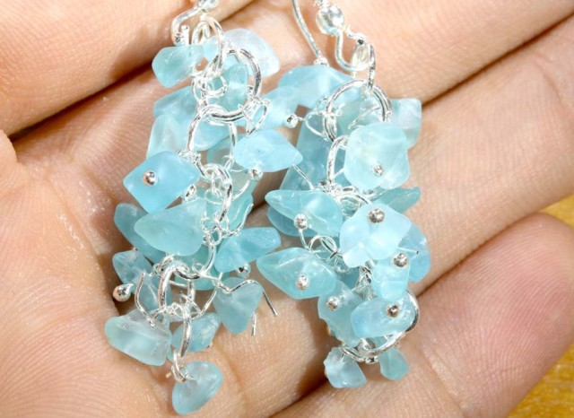 49.95CTS APATITE EARRINGS NEON BLUE UNTREATED SG-2285