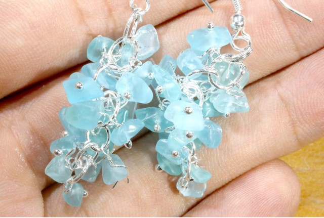 49.95CTS APATITE EARRINGS NEON BLUE UNTREATED SG-2309
